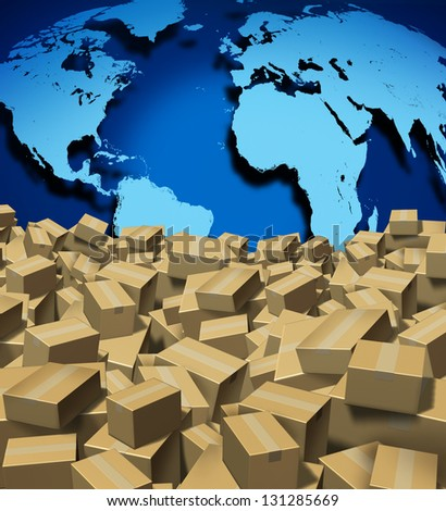 Global Shipping and cargo concept as a worldwide trade and delivery transport courier service with a world map from internet sales with a group of shipped cardboard boxes.