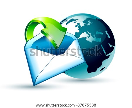 Global Shipping and Communication Email concept illustations with a 3D glossy Globe and style postcard with an arrow pointing to the center of the image.