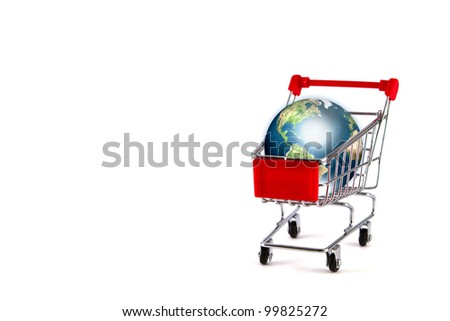 Global shopping concept with shopping cart