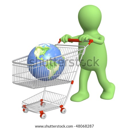 Global shopping - 3d puppet, going for purchases