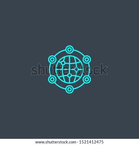 global solution concept blue line icon. Simple thin element on dark background. global solution concept outline symbol design. Can be used for web and mobile UI/UX