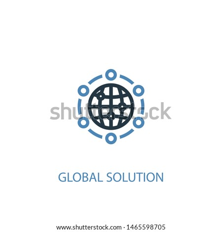 global solution concept 2 colored icon. Simple blue element illustration. global solution concept symbol design. Can be used for web and mobile UI/UX