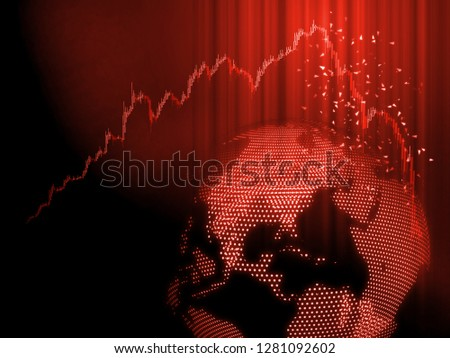 Global Stock market chart panic sell concept. Red candle sticks graph hit peak and drop down dramatically with 3D Rendering digital dot globe background. Extreme bearish stage. Stock market down