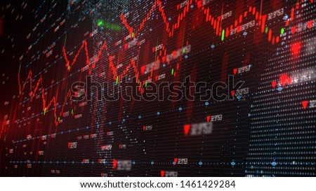 Global stock market down turn into a negative growth recession - 3D illustration rendering Stock photo ©