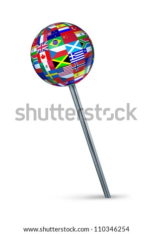 Global strategy position and setting international business targets with a pushpin symbol painted with the flags of countries as Brazil,Canada,China,USA,Russia,England,Europe,Italy,France on white.