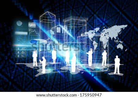 Global technology background against futuristic black background with binary code