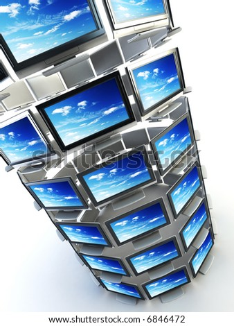 global television concept 3d rendering