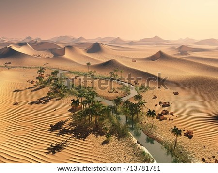 Global temperature change concept. Lonely sand ridges under striking evening sunset sky at drought desert landscape 3d rendering stock photo