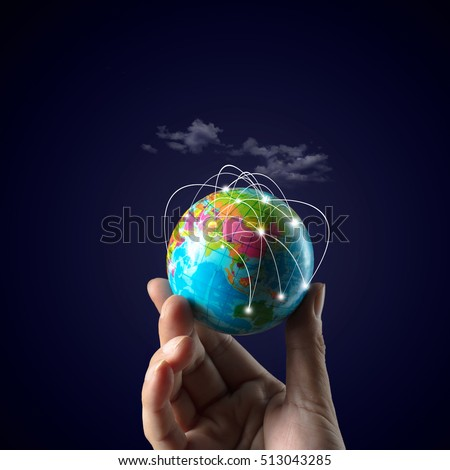 Global transportation and communications background, Global network connection concept stock photo
