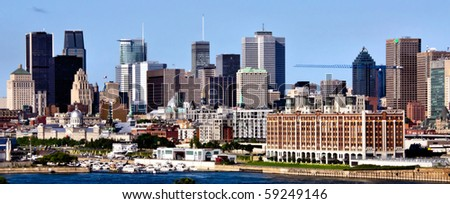Global view of Old Montreal with backgrounds in the Downtown Montreal and its business center