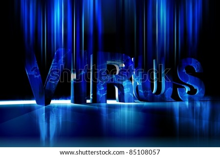 Global Virus - Cool Blue Dark Global Virus Theme Illustration. Cool Motion Blur Glowing Lights Fading Letters. Horizontal Design.