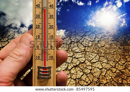 Global warming, climate change, hot weather, dry earth
