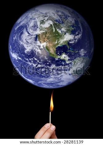 Global warming concept: match stick burning the Earth (Nasa imagery).