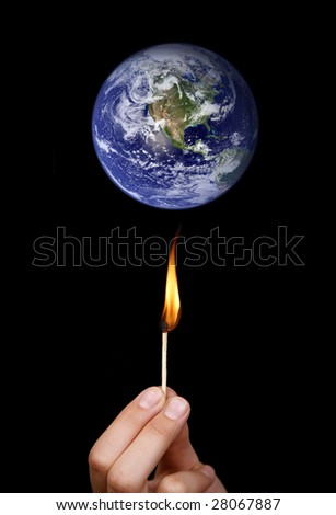 Global warming concept: match stick burning the world (nasa imagery)