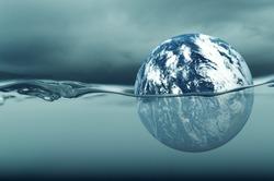 Global warming - drowning world - sea level rising