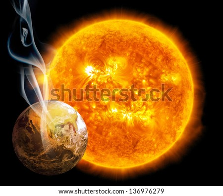 Global warming. Earth and Sun, (Collage from images from www.nasa.gov)