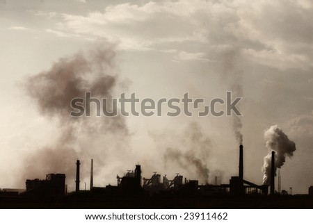 global warming / heavy industry smoking chimneys