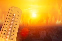 global warming high temperature city heat wave in summer season concept.