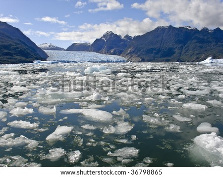 Global warming - Icebergs from the San Rafael Glacier in Patagonia, Chile