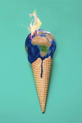 Global warming illustrated in a photomanipulation