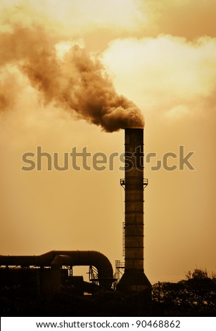 Global Warming Smoke Rising from Factory