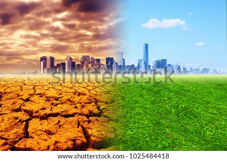 Global warming - the city, barren land and green meadow, collage #1025484418