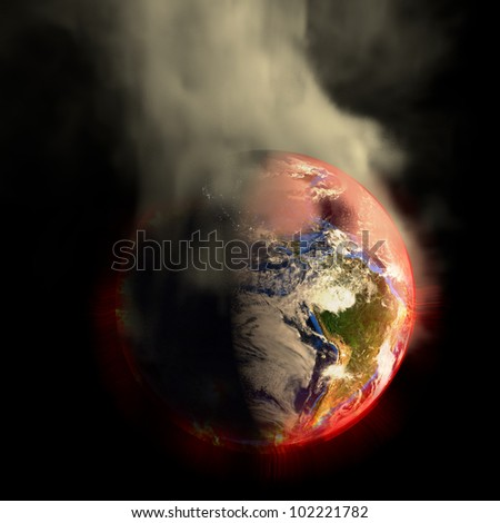Global warming? The sun's energy multiplied? 2012? Nuclear War? Your choice! This earth irradiation concept is an awesome depiction a worldwide energy disaster. Elements of this image furnished by NASA.