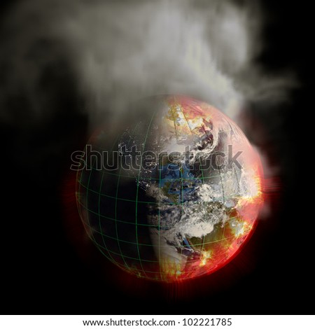 Global warming The sun's energy multiplied 2012 Nuclear War Your choice This earth irradiation concept is an awesome depiction of doomsday Elements of this image furnished by NASA