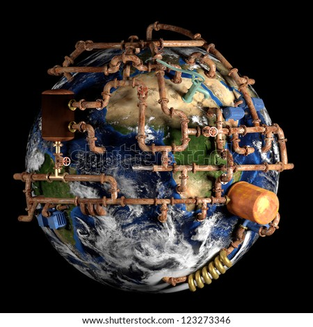 Global water supply. A very detailed conceptual image. Elements of this image furnished by NASA.