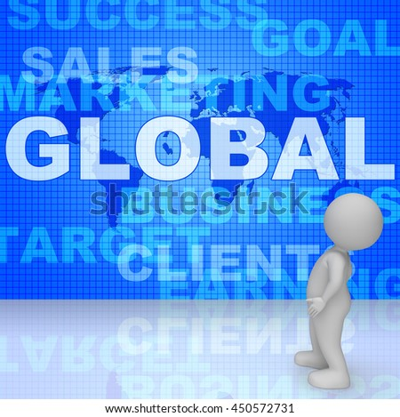 Global Words Representing World Business And Commerce 3d Rendering