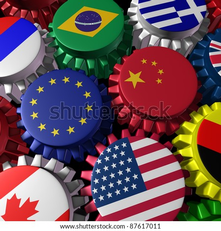 Global world economy machine with China and Europe  in the center with gears and cogs and country flags of Greece Russia U.S.A. Canada Germany Brazil and Britain representing international industry.