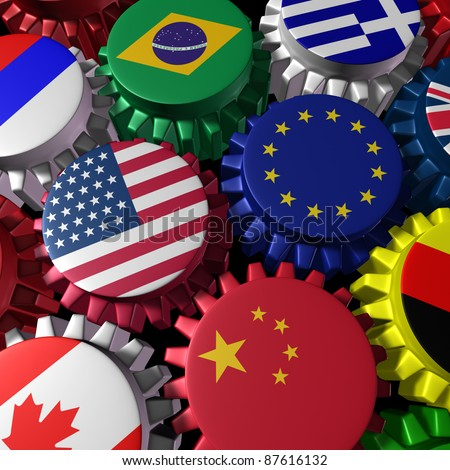 Global world economy machine with U.S.A and Europe  in the center represented by gears and cogs with the countries flags of Greece Russia China Canada Germany Brazil and Britain representing trade..