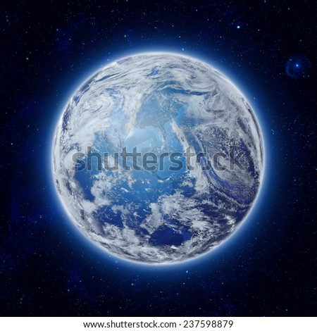 global World in space, Blue Planet Earth with some clouds and stars in the dark sky. Elements of this image furnished by NASA