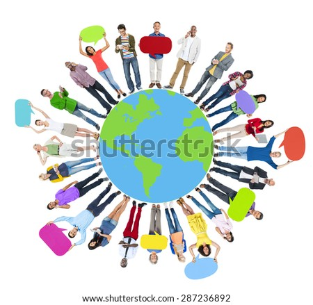 Global World Map People Circle Happiness Togetherness Cheerful Concept