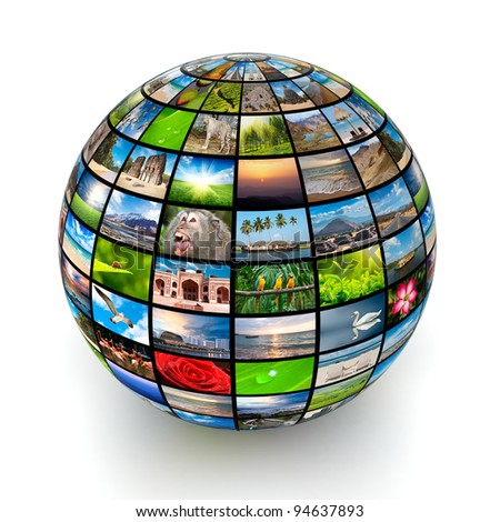 Global worldwide information media concept