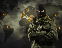 Global worldwide terrorism explosions on map