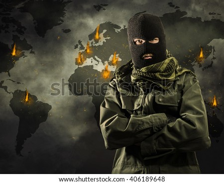 Global worldwide terrorism explosions on map Сток-фото ©