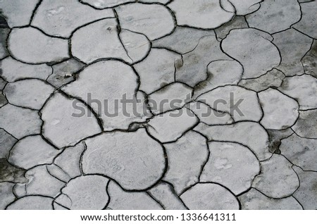 Global worming effect-texture of grungy dry cracking parched earth. cracked soil.  #1336641311
