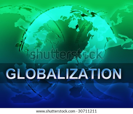 Globalization international free trade economy illustration with globes