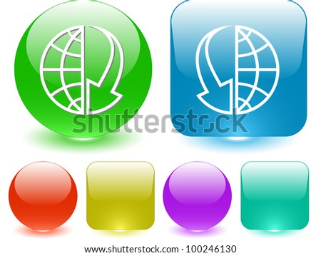 Globe and array down. Interface element. Raster illustration.