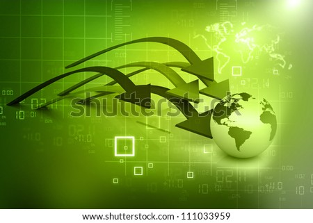 globe and arrows on abstract background