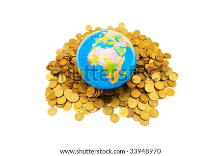 Globe and coins isolated on the white background