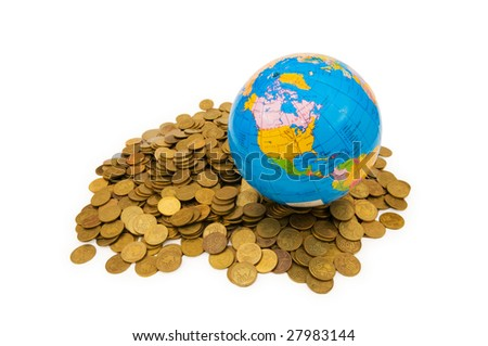 Globe and coins on white