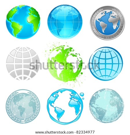 Globe and Earth set. (Vector version of this work is available in my portfolio: # 47565295)