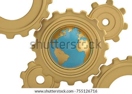 Stock Photo Globe and gears on white background. 3D illustration.