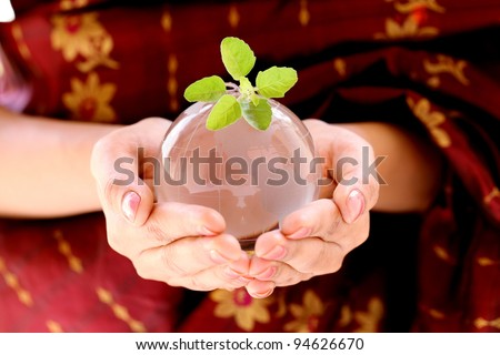 Globe and green plant in the hands- Green world