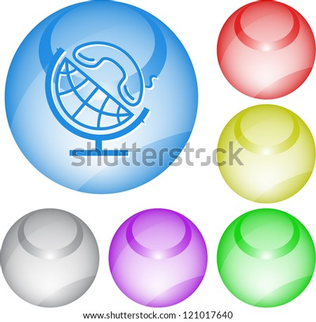 Globe and handset. Interface element. Raster illustration.