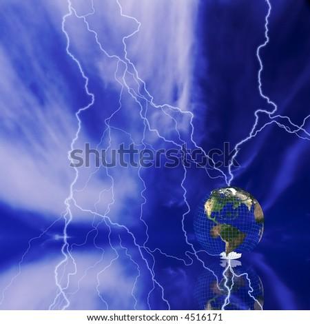 Globe and lightning
