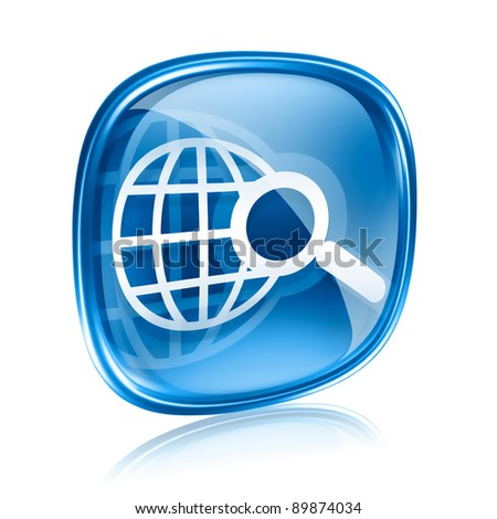 globe and magnifier icon blue glass, isolated on white background.