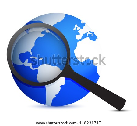 globe and magnifier illustration design over a white background